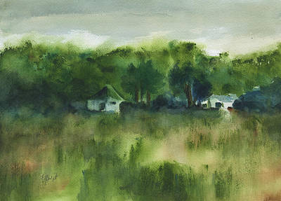 Painting - Cottages By The Field by Frank Bright