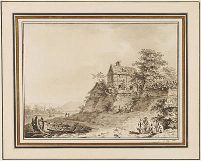 Drawing - Cottages On A Riverbank by Adrian Zingg