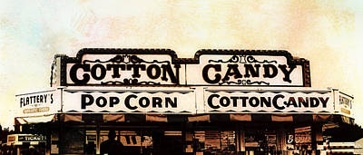 Photograph - Cotton Candy Sign - Textured Photo Art  by Ann Powell