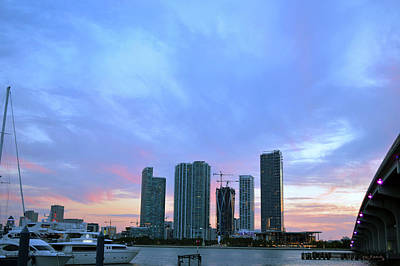 Bridge Photograph - Cotton Candy Sunset Over Miami 2 by Ken Figurski