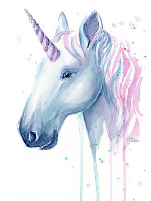 Unicorn Art Painting - Cotton Candy Unicorn by Olga Shvartsur