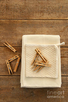 Cotton Dish Towel With Clothes Pins Art Print