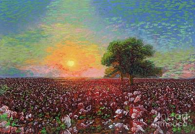 Best Sellers - Landmarks Painting Royalty Free Images - Cotton Field Sunset Royalty-Free Image by Jane Small