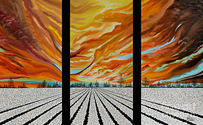 Painting - Cotton Field Triptych by Terry  Hester
