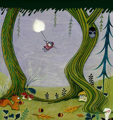 Art Print featuring the painting Cotton Grass Flight by Kaori Hamura Long