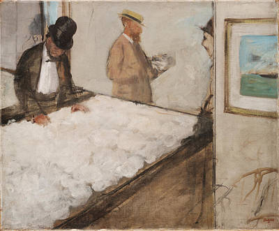 Retro Portret Painting - Cotton Merchants In New Orleans 1873 by Edgar Degas