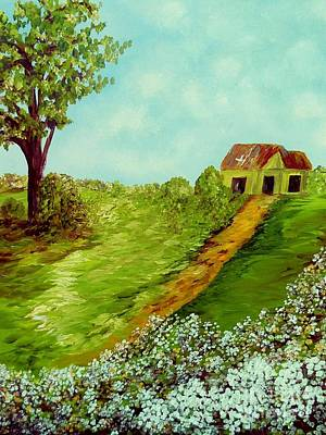 Texas Farm House Painting - Cotton On A Cloudy Day by Eloise Schneider