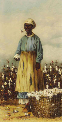 African-american Painting - Cotton Pickers - A Woman by William Walker