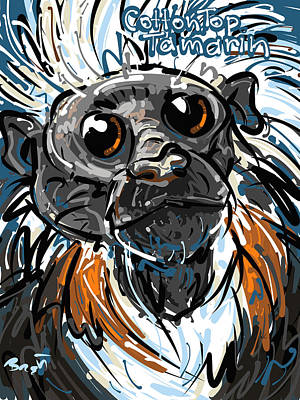 Cute Monkey Drawing - Cotton Top Tamarin by Brett LaGue