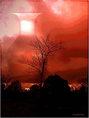 Print featuring the photograph Cottonwood Crimson Sunset by Joyce Dickens