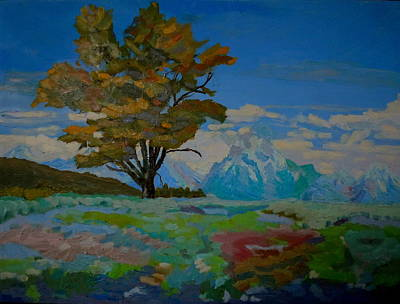 Cottonwood On Teton Range Art Print