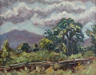 Cottonwoods At The Ranch Art Print by Zanobia Shalks