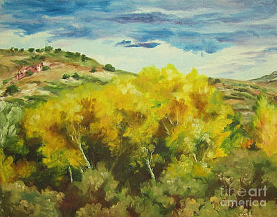 Cottonwoods Art Print by Theresa Higby