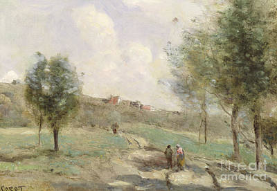 Coubron Ascending Path Art Print by Jean Baptiste Camille Corot