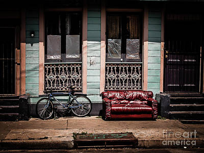 Photograph - Couch And Bike - Nola by Kathleen K Parker