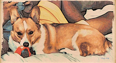 Corgi Digital Art - Couch Corgi Chewing A Ball by Kathy Kelly