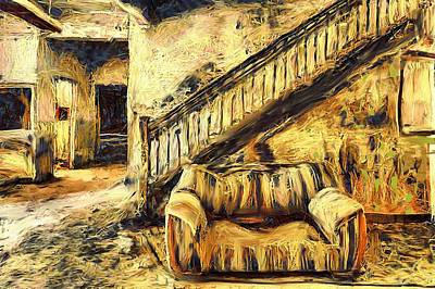Dilapidated Mixed Media - Couch In Abandoned Hotel Lobby by Lalo D'art