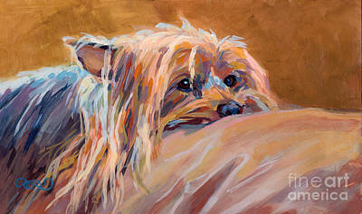 Yorkie Painting - Couch Potato by Kimberly Santini