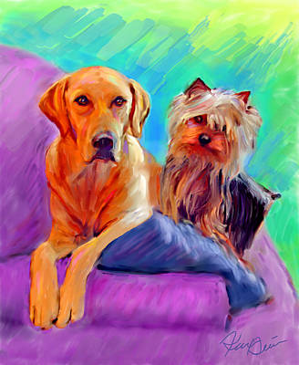 Yorkie Digital Art - Couch Potatoes by Karen Derrico