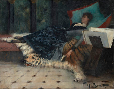 Painting - Couch With Resting Lady by Ferdinand Max Bredt