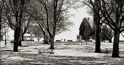 Couchiching Park In Pencil Art Print