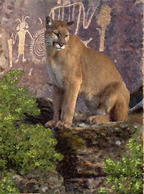 Pastel - Cougar And The Pictographs by Kathie Miller