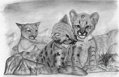 Cougar As She Watches Her Cubs Art Print by Russ  Smith