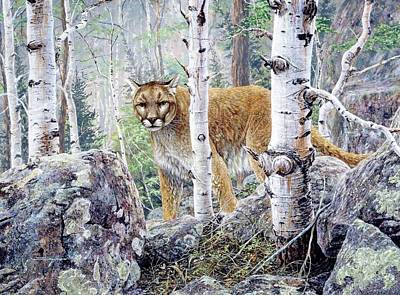 Painting - Cougar Aspen Trees by Brian Durfee