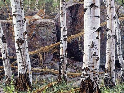 Painting - Cougar At Rest by Brian Durfee