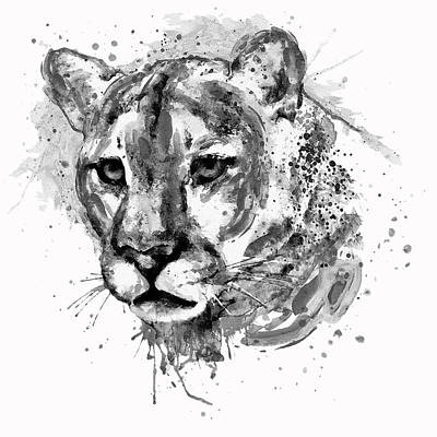 Big Square Format Mixed Media - Cougar Head Black And White by Marian Voicu