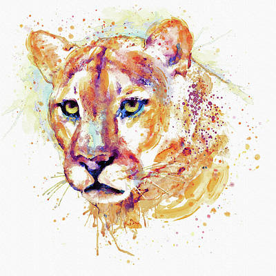 Big Square Format Mixed Media - Cougar Head by Marian Voicu