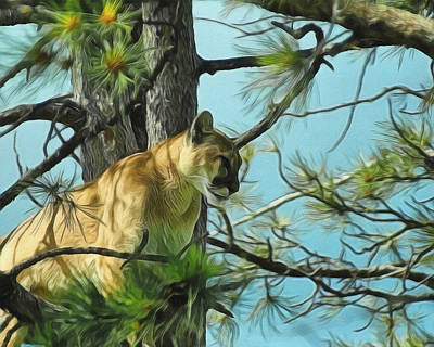 Digital Art - Cougar In A Tree 2 by Ernie Echols