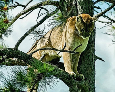 Digital Art - Cougar In A Tree by Ernie Echols
