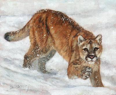 Painting - Cougar In The Snow by David Stribbling