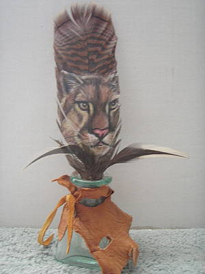 Wild Turkey Mixed Media - Cougar Painted On Feather by Linda Nielsen