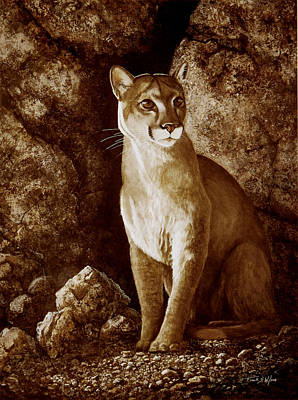 Painting - Cougar Wait Until Dark  by Frank Wilson
