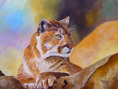Cougar Wildlife Art Print by Mary Jo Zorad