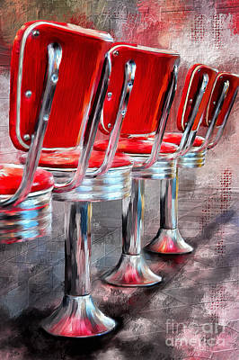 Digital Art - Counter Seating Available by Lois Bryan