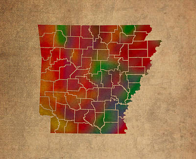 Arkansas Mixed Media - Counties Of Arkansas Colorful Vibrant Watercolor State Map On Old Canvas by Design Turnpike