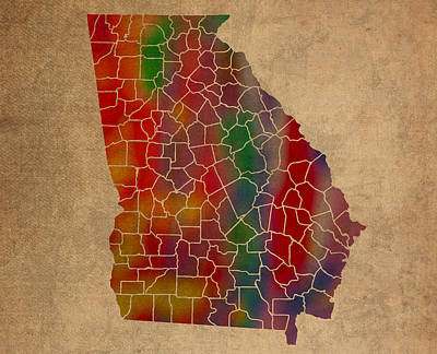 Colorful Mixed Media - Counties Of Georgia Colorful Vibrant Watercolor State Map On Old Canvas by Design Turnpike