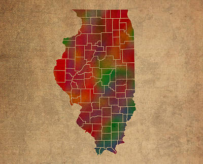 University Of Illinois Mixed Media - Counties Of Illinois Colorful Vibrant Watercolor State Map On Old Canvas by Design Turnpike