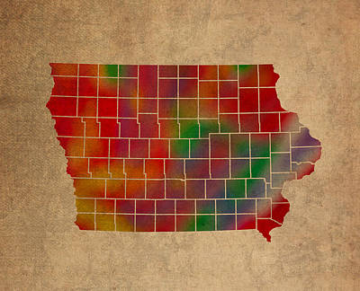Old Mixed Media - Counties Of Iowa Colorful Vibrant Watercolor State Map On Old Canvas by Design Turnpike