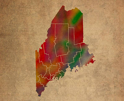 Colorful Mixed Media - Counties Of Maine Colorful Vibrant Watercolor State Map On Old Canvas by Design Turnpike