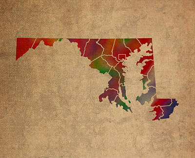 Old Mixed Media - Counties Of Maryland Colorful Vibrant Watercolor State Map On Old Canvas by Design Turnpike