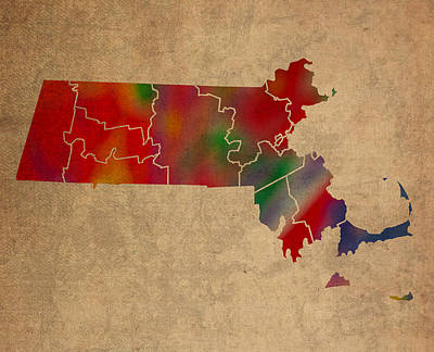 Old Mixed Media - Counties Of Massachusetts Colorful Vibrant Watercolor State Map On Old Canvas by Design Turnpike