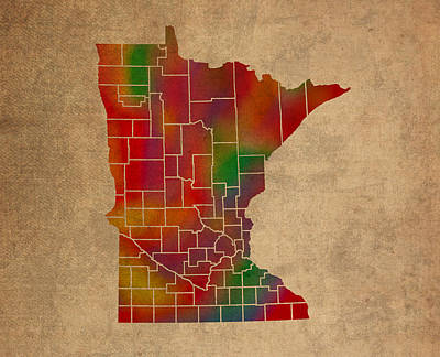 Old Mixed Media - Counties Of Minnesota Colorful Vibrant Watercolor State Map On Old Canvas by Design Turnpike