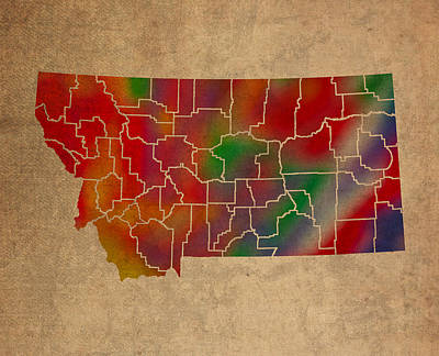 Counties Of Montana Colorful Vibrant Watercolor State Map On Old Canvas Art Print