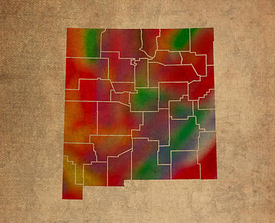 New Mexico Mixed Media - Counties Of New Mexico Colorful Vibrant Watercolor State Map On Old Canvas by Design Turnpike