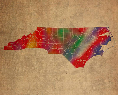 Colorful Mixed Media - Counties Of North Carolina Colorful Vibrant Watercolor State Map On Old Canvas by Design Turnpike