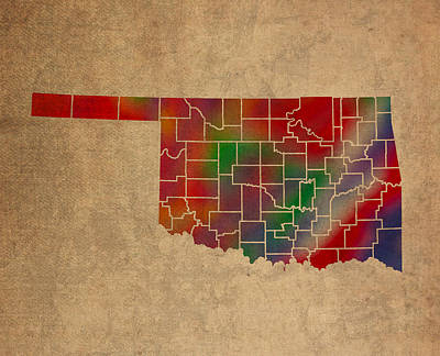 Oklahoma Mixed Media - Counties Of Oklahoma Colorful Vibrant Watercolor State Map On Old Canvas by Design Turnpike
